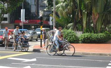 Trishaws in downtown Singapore